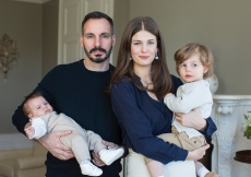 Prince Sinan in the arms of his father Prince Rahim, and Princess Salwa carrying his big brother, Prince Irfan. TheIsmaili