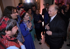 Mawlana Hazar Imam meets with the musicians and singers who performed at the celebration of his 80th birthday. Photo: Zahur Ramji