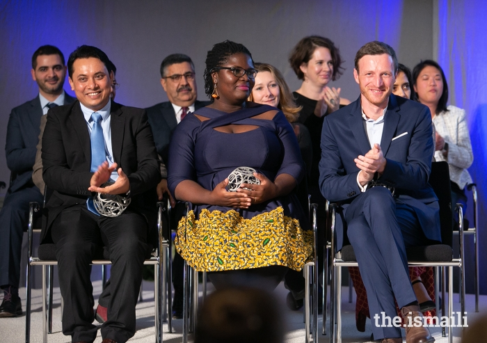 The three winners of the 2019 Global Pluralism Award: Aung Kyaw Moe on behalf of the Centre for Social Integrity, an organisation that provides youth from Myanmar's conflict-affected regions with the skills to be leaders for change; Deborah Ahenkorah, a Ghanaian social entrepreneur and book publisher; and Igor Radulović on behalf of Learning History that is not yet History, a network in the Balkans developing a new approach to teaching the history of conflict.