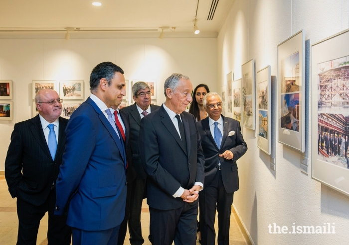 """President of the Portuguese Republic, Marcelo Rebelo de Sousa, visits the exhibition """"Ismaili Centre Lisbon: 20 Years Celebrating Pluralism"""" along with guests and leaders of the Jamat and AKDN."""