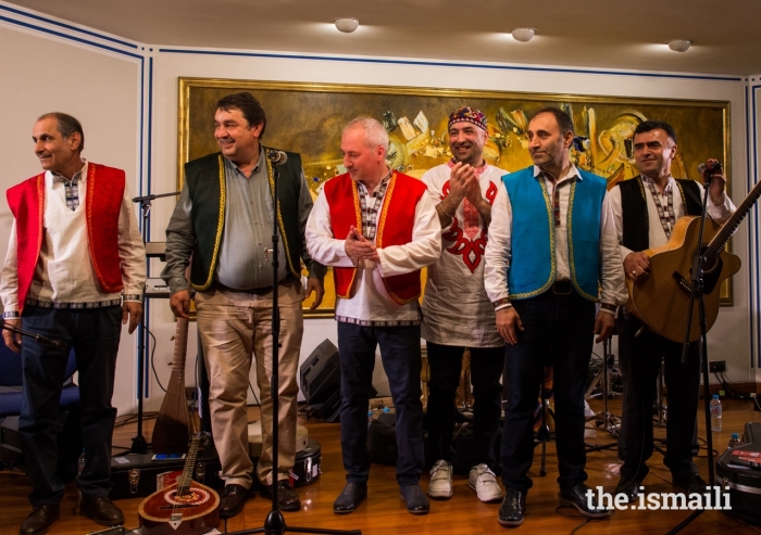 Nobovar Chanorov (2nd from right) and the Shams group shared a medley of Pamiri sounds to an enthralled audience at the Ismaili Centre, London.