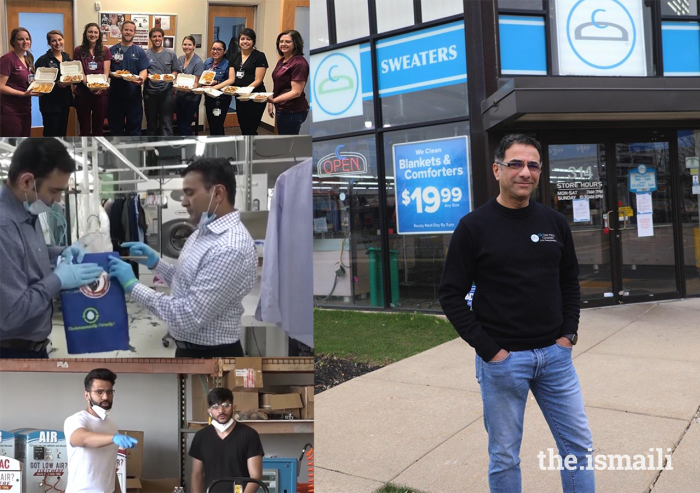 Top left: Sanif Maredia provides local healthcare workers with food from his restaurant MESS - College Station Waffle House. Middle left: Saleem Ali and Rahim Maknojia of Oaks Cleaner provide free laundry services for healthcare professionals and medical professionals. Bottom left: Alishah Momin and Nazim Sunesara at Ionized LLC prepare supplies for distribution. Right: Rafiq Karimi of CD One Price Cleaners in Chicago offers free laundry services to emergency and healthcare workers.