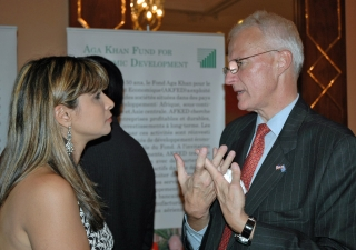 Deputy Chief of Mission of the United States, Sam Brock, in discussion with External Activities Task Force member, Nimet Janmohamed.