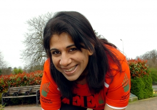 Zahira Virani prepares to run the London Marathon.