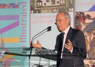 """Dr Farhad Daftary addresses the audience at the launch of the book """"The Ismailis: An Illustrated History"""" which he co-authored with Dr Zulfikar Hirji."""