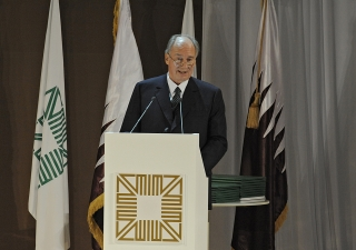 Mawlana Hazar Imam speaking to the assembled guests at the Aga Khan Award for Architecture ceremony, held at the Museum of Islamic Art in Doha, Qatar.