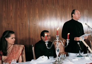 His Highness the Aga Khan speaking at the Silver Jubilee dinner in New Delhi, India, 14 January 1983.