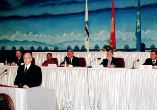 His Highness the Aga Khan delivering his keynote address at the Bishkek Global Mountain Summit.