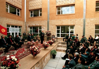 His Highness the Aga Khan making his inaugural remarks in the central courtyard of the Aga Khan School, Osh.