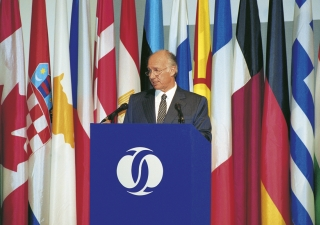 Mawlana Hazar Imam delivering the Jacques de Laroisère Lecture at the annual meeting of the Board of Governors of the European Bank for Reconstruction and Development (EBRD) Tashkent, Uzbekistan.