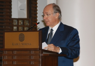 Mawlana Hazar Imam speaking at the opening ceremony of the Kabul Serena Hotel.