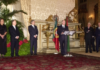 Mawlana Hazar Imam speaking after the signing of the Protocol of Cooperation between the Ismaili Imamat and the Government of the Republic of Portugal at the Ajuda Palace.