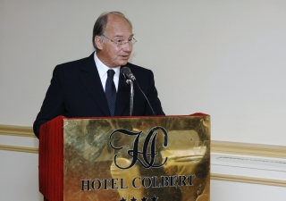 Mawlana Hazar Imam speaking at the state banquet in his honour hosted by the Prime Minister Charles Rabemanjara.