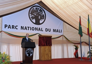 Mawlana Hazar Imam delivering his address at the Opening Ceremony of the National Park of Mali.