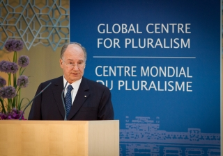Mawlana Hazar Imam introducing Kofi Annan, the speaker for the annual Pluralism Lecture.