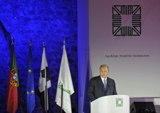 Mawlana Hazar Imam addresses the audience during the award ceremony of the 12th cycle of the Aga Khan Award for Architecture, presented in Lisbon, Portugal.