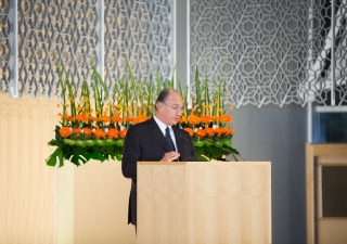 Mawlana Hazar Imam, recipient of the 2013 Royal Architectural Institute of Canada Gold Medal, addresses the audience gathered at the Delegation of the Ismaili Imamat in Ottawa, upon receiving the honour.