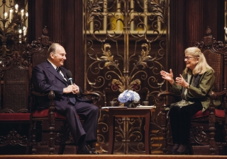Mawlana Hazar Imam and Professor Diana Eck in conversation at Harvard University on 12 November 2015.
