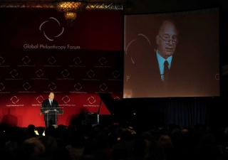 Mawlana Hazar Imam speaking to the Global Philanthropy Forum.
