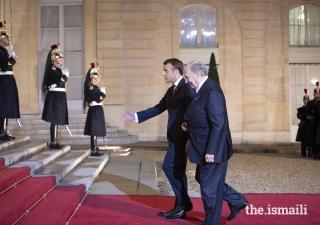 President Emmanuel Macron welcomes Mawlana Hazar Imam to the Élysée Palace for a dinner reception ahead of the Paris Peace Forum.