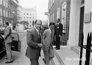 Mawlana Hazar Imam arriving at the Institute of Ismaili Studies (IIS) in London, July 1983.