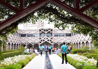During the Diamond Jubilee Celebration in Lisbon, tours were arranged for members of the Jamat to visit the Ismaili Centre and its gardens.