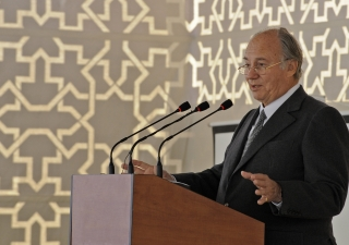 """Describing a vision for Khorog as """"the Jewel of the Pamir,"""" Mawlana Hazar Imam delivers his address at the foundation laying ceremony for the Ismaili Jamatkhana and Centre in Khorog."""