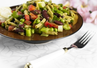 Colourful, delicious, and nutritious: pea and bean salad is a great source of fiber and protein, and it makes for a great snack or meal.