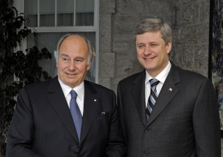 The Right Honourable Stephen Harper, Prime Minister of Canada, with Mawlana Hazar Imam in front of the Prime Minister's residence at 24 Sussex Drive in Ottawa.