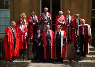 University of Cambridge Chancellor, His Royal Highness the Duke of Edinburgh, and Vice Chancellor Professor Alison Richard with Mawlana Hazar Imam and other honorary degree recipients.