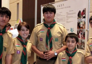 Some of the Aga Khan Scouts at the Imamat Day Reception gather for a photograph.