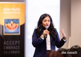 Farzana Nayani, Diversity, Equity and Inclusion consultant speaking at a corporate summit on Employee Resource Groups.