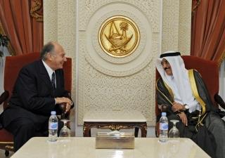 Mawlana Hazar Imam in conversation with Dr Hamad bin Abdulaziz Al Kuwari, Qatar's Minister of Culture, Arts and Heritage.