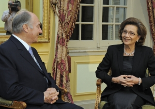 Mawlana Hazar Imam meeting with Her Excellency Suzanne Mubarak, the First Lady of Egypt, at the Old Winter Palace in Luxor. Hazar Imam is attending the Luxor International Forum to Combat Human Trafficking.