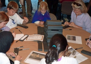 Family Day activities at the Museum included hands-on activities like this Calligraphy Corner.