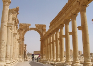 The colonnade (1.2 km long) at Palmyra dating back almost 2000 years