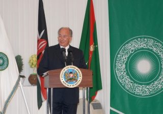 Mawlana Hazar Imam speaking at the Foundation Ceremony of the Aga Khan University Graduate School of Media and Communications.