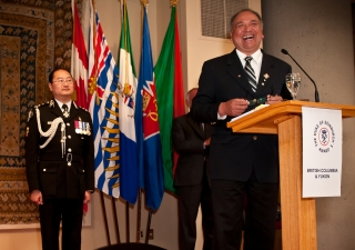 His Honour the Honourable Steven L. Point, Lieutenant Governor of British Columbia, addresses Duke of Edinburgh award recipients at the Ismaili Centre, Burnaby.
