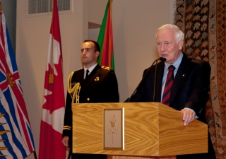 His Excellency the Right Honourable David Johnston, Governor General of Canada delivers the keynote address before the Canadian Club of Vancouver at a luncheon hosted at the Ismaili Centre, Burnaby.