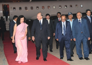 Arriving in Delhi, Mawlana Hazar Imam is welcomed by Ruchira Kamboj, Chief of Protocol for the Government of India, as well as Aitmadi Gulam Rahimtoola, President of the Ismaili Council for India and Abad Ahmed, Chairman of the Aga Khan Foundation in Indi
