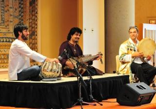 Homayun Sakhi playing the Afghan rubab  with Salar Nader on tabla and Abbos Kosimov on the dayra.