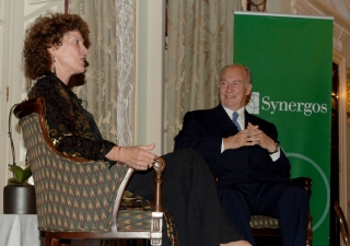"Mawlana Hazar Imam in conversation with Peggy Dulany, founder of the Synergos Institute, at ""University Night"" in London on 22 October 2012."
