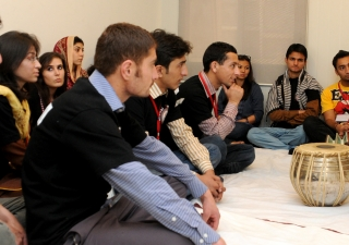 Participants take a keen interest in the music session during the National Youth Camp.