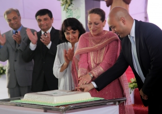 Princess Zahra cuts a cake in celebration of the 25th anniversary of the Aga Khan School, Dhaka on 5 June 2014.