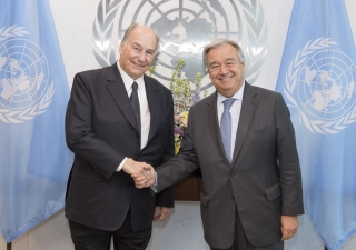 United Nations Secretary-General António Guterres with Mawlana Hazar Imam following their meeting at the United Nations Headquarters on 18 October 2017 in New York City.