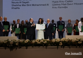 Noura Al Sayeh is honoured at the Aga Khan Award for Architecture 2019 Ceremony for her work on the Revitalisation of Muharraq in Bahrain.