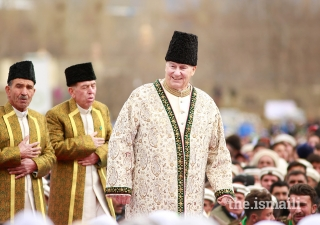 Mawlana Hazar Imam grants a Darbar to the Jamat during his Diamond Jubilee visit in Aliabad, Hunza