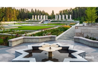 The Garden features secluded forest paths, granite and limestone terraces, still pools that reflect the prairie sky and a waterfall that tumbles over textured stone. The landscape allows us to reflect upon how nature can provide us signs from God.