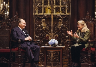 Mawlana Hazar Imam and Professor Diana Eck in conversation at Harvard University on 12 November 2015. Farhez Rayani