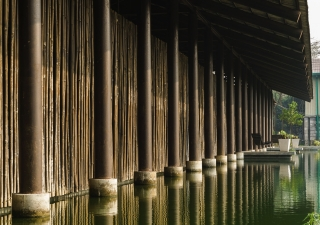 Details of the pillars, made out of upcycled gas pipes, at the Amber Denim Loom Shed in Gazipur, Bangladesh. The project has been shortlisted for the Aga Khan Award for Architecture 2019 cycle.